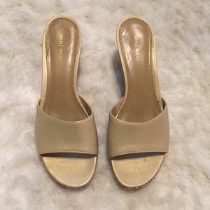 Open toe leather wedge slide sandals, size 8.5